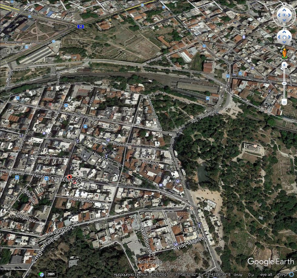 GoogleEarth Image 1 2 - Thissio'da Satılık Hostel